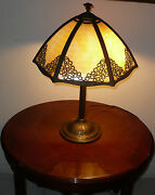 Antique 1800and039s Bradley And Hubbard Slag Glass Lamp Gorgeous