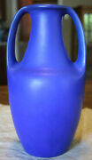 Unusual Blue Matte Teco Pottery Vase Mint Condition Free Shipping