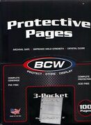 100 Pagesbcw3-pockets Currency Collectors Holders Sleeves Pageslot O10