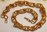 Vintage Signed Napier Gold Tone Metal Heavy Costume Jewelry Retro Link Necklace