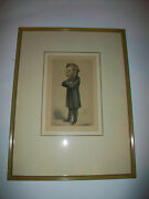 Vintage Framed Matted Caricature Picture Lithograph Thomas Henry Huxley