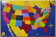 Usa State Map North America Painting Original Abstract Canvas Wall Art 24 X 36