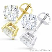 6.00ct Round Brilliant Cut Moissanite 14k Gold Stud Earrings Charles And Colvard
