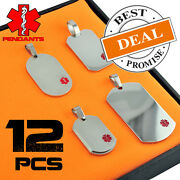 Wholesale Package 12 Pieces Stainless Steel Medical Id Pendants Only 3.46 Each