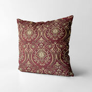 Wk221a Gold On Red Damask Chenille Flower Throw Cushion Cover/pillow Case Size