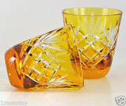 Pair Faberge Na Zdorovye Vodka Shot Glasses Gold/yellow Cased Clear Crystal