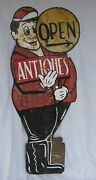Vintage Painted Tin Antiques Directional Advertising Sign   Shipable