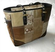 New Coach Holiday Gold Patchwork Signature Suede Gallery Lg Tote Bag Purse Nice