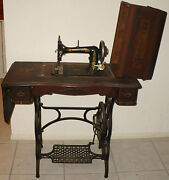 Antique Loeser No 3 Sewing Machine And Treadle Table Serial 1431278