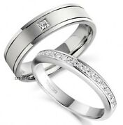 18k White Gold His And Hers Mens Womens Wedding Bands Rings Set