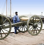 African-american Soldier Cannon Virginia Color Tinted Photo Civil War 01981