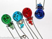1pc Large Glass Green Oil Ashes Urn Bottle Cork Pendant Vial Necklace New