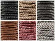 Genuine Round Bolo Braided Leather Cord 4 Mm 5/32 Diy Craft Jewelry Supplies