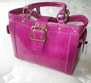 Coach Ltd Ed Hot Magenta Pink Genuine Python Skin Leather Boxy Tote Bag Purse