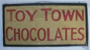 Antique Toy Town Chocolates Painted Sign Massachusetts