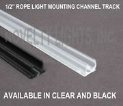 1/2 4 Foot Rope Light Channel Track - Clear Or Black - Pvc Plastic - 10 Pack