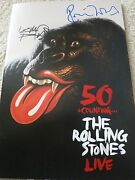Rolling Stones Signed Program Proof + Coa Keith Richards And Ronnie Wood 50