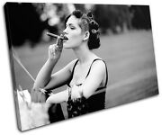 Woman Cigar B And W Vintage Single Canvas Wall Art Picture Print Va