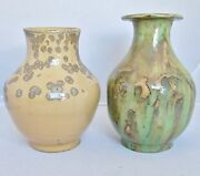 2 Vintage Mid Century Signed Rose Dodds Studio Art Pottery Vases 6.4 And 6.9