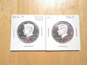 2012 S Silver And Clad Proof Kennedy Half Dollar 2 Coin Lot Set