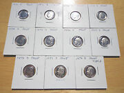 1970 1971 1972 -1977 1978 1979 S Type 1 And 2 Roosevelt Dime Proof 11 Coin Set Lot