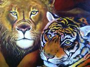 Original Painting Lion And Tiger Wildlife Cat Cats By Galina Red 18x24