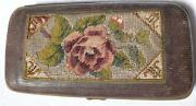 Empty Embroidered With Glass Beads Cigarette Metal And Fabric Box S8198