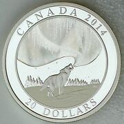 Canada 2014 20 Howling Wolf And Story Of The Northern Lights Hologram 1 Oz Silver