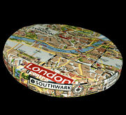 Ll324r Red Brown London Map High Quality Cotton Canvas 3d Round Cushion Cover