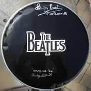 The Beatles 2x Signed Drumhead Drum Head Pete Best Andy White Psa/dna