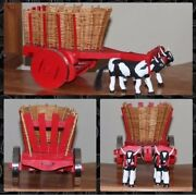 Miniature Bull And Pulled Cart. Handmade By My Dad. 7h X 12l X 6w