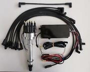 Sbc Chevy Pro-billet Distributor, 6al Box And Black Plug Wires Over Valve Covers