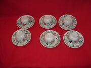 Lc3 Staffordshire Stick Spatterware Cup Saucers Set Of 6 Cut Sponge Spatter 1840
