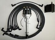 Sbc Chevy 350 Black Pro-billet Distributor,coil And Spark Plug Wires Under Exhaust