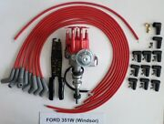 Ford 351w Red Small Cap Hei Distributor And Universal Spark Plug Wires 45- Crimper