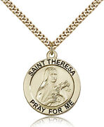 Saint Theresa Medal For Men - Gold Filled Necklace On 24 Chain - 30 Day Mone...