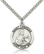Saint Theresa Medal For Men - .925 Sterling Silver Necklace On 24 Chain - 30...