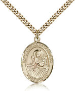 Saint Lidwina Of Schiedam Medal For Men - Gold Filled Necklace On 24 Chain -...