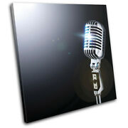 Microphone Musical Single Canvas Wall Art Picture Print Va