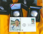 Two Curve Hall Of Fame Silver Baseball 1 And Lou Gehrig First Day Cover Coa/gop