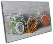 Spices Jars Food Kitchen Single Canvas Wall Art Picture Print Va