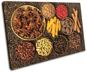 Indian Spices Food Kitchen Single Canvas Wall Art Picture Print Va