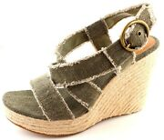 Coconuts Avery Green Strappy Espadrille Platform Wedges Sandals Heels Size 9 Nwb