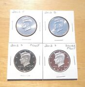 2012 P D S S Silver And Clad Proof Kennedy Half Dollar 4 Coin Lot Set Pdss