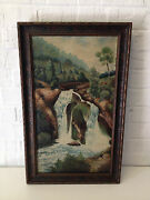 Antique 1925 Nell Choate Jones Signed Oil Painting Of Waterfall In Landscape