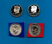 2007 Pdss Bu Plus Silver And Clad Proof Kennedy Half Dollar Update Set- 4 Coins