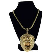 Lion Head Iced King Size Chunky Hip Hop Pendant Gold Finish Franco Chain 36 In