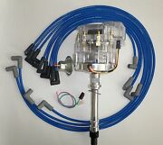 Chevy 350 Sbc Clear Super Hei Distributor And Blue Spark Plug Wires Under Exhaust