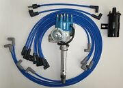 Small Block Chevy Small Blue Hei Distributor+black Coil+plug Wires Under Exhaust