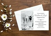 Personalised Engagement Party Invitations Champagne Glasses Gold Or Silver